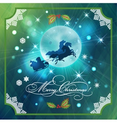 Santa riding sleigh in christmas night background vector