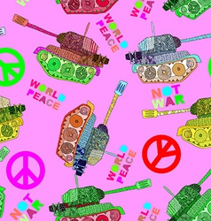 No war seamless pattern hippie background world vector