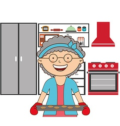 Grandmother cooking vector
