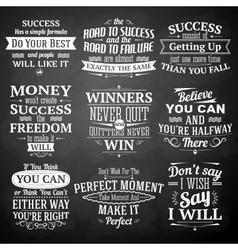 Success quotes chalkboard set vector
