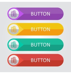 Flat buttons with coins icon vector