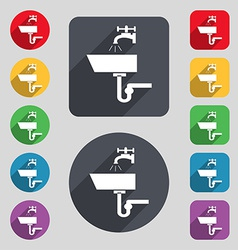 Washbasin icon sign a set of 12 colored buttons vector