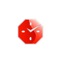 Octagon shaped wall clock business logo vector