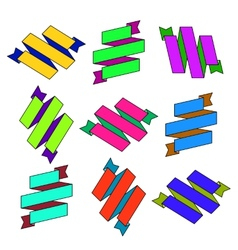 Set of cartoon paper colored zigzag ribbons vector