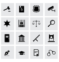 Black justice icon set vector