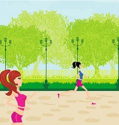 Jogging girls in summer vector