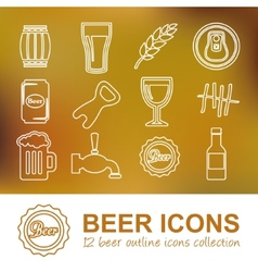 Beer outline icons vector