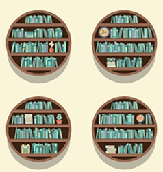 Set of 4 round bookshelves on wall vector