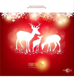 Elegant christmas background with deers wit vector