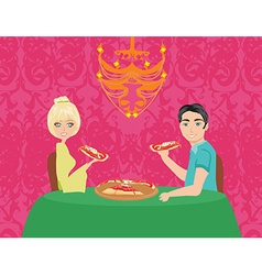 Couple enjoying pizza vector
