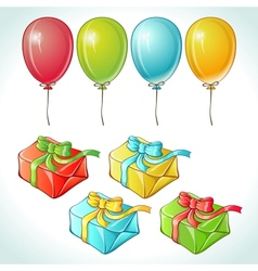 Set of colorful balloons and gifts with details vector