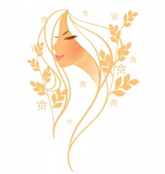 Women profile leaf floral vector