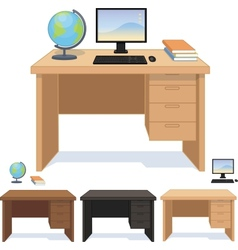 Wood desk for pupil and student set of vector