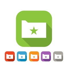 Color set of flat folder with star vector