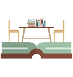 Vintage chairs and bookcase on huge book vector