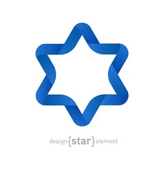 Origami david star on white background vector