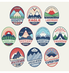 Mountain badge set2color vector