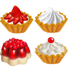 Set of fruit desserts with jelly vector