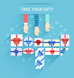 Gifts boxes with hands vector