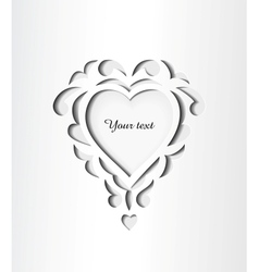 Paper cutout card with heart vector