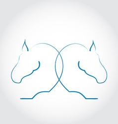 Sign of two horses stylized hand drawn vector