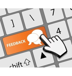 Keyboard feedback button with mouse hand cursor vector