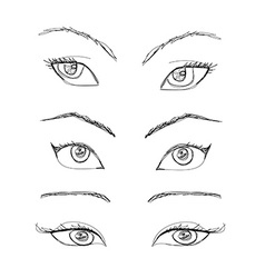Cartoon eyes set vector
