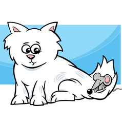 Kitten with mouse cartoon vector