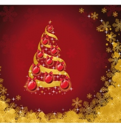 Christmas tree with golden snow vector