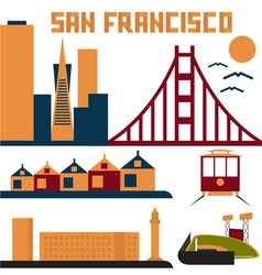 Landmarks of san francisco flat design vector