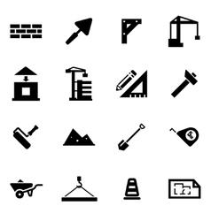 Black construction icon set vector