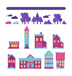 Flat houses trendy set of buildings icons isolated vector