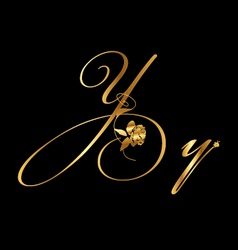 Gold letter y with roses vector
