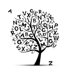 Art tree with letters of alphabet for your design vector