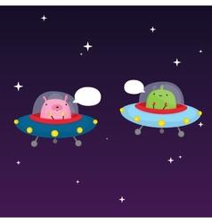 Aliens in space vector