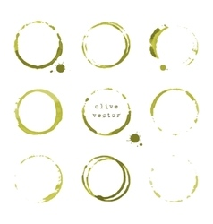 Olive round stains and blots vector
