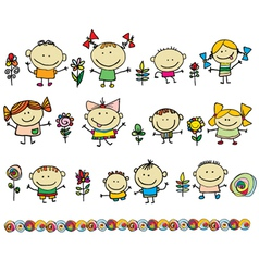 Cute cartoon kids vector
