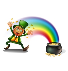 A man with a pot of golds vector