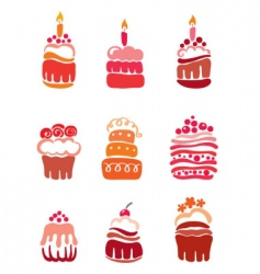 Set pink cakes vector
