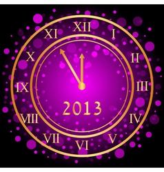 Purple new year clock vector