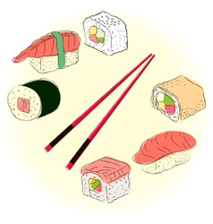 Colored sketchy sushi set vector