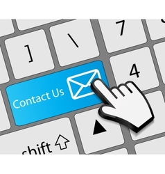Keyboard contact us button with mouse hand cursor vector