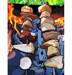 Skewers of mushrooms on the grill barbecue vector