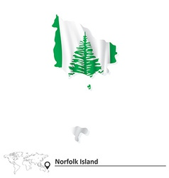 Map of norfolk island with flag vector