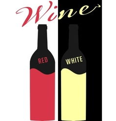 Bottle of wine red and white image flat vector