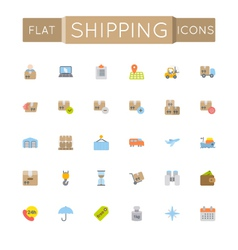 Flat shipping icons vector