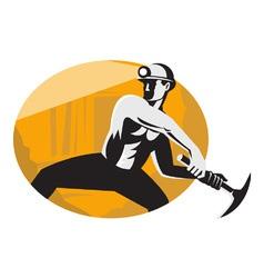Retro coal miner icon vector