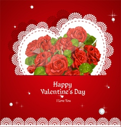 Laced with red roses applique valentine card vector