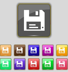Floppy icon sign set with eleven colored buttons vector