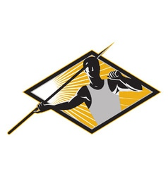 Retro javelin athlete icon vector